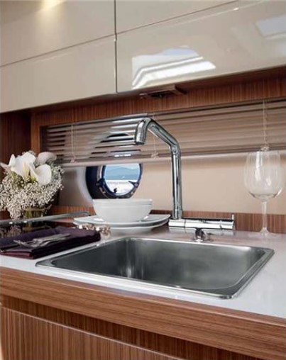 kitchen sink on a boat