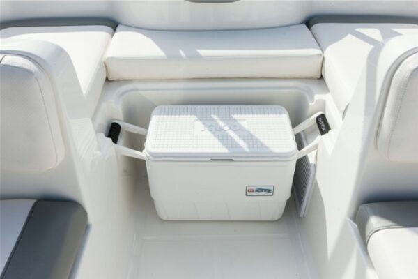 white small cushion with ice cooler in the center
