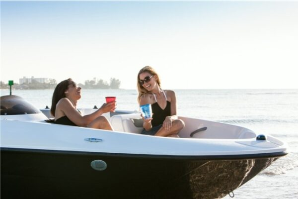 two women on a boat