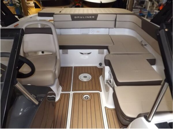 one long seat cushion and one driver's seat on a boat