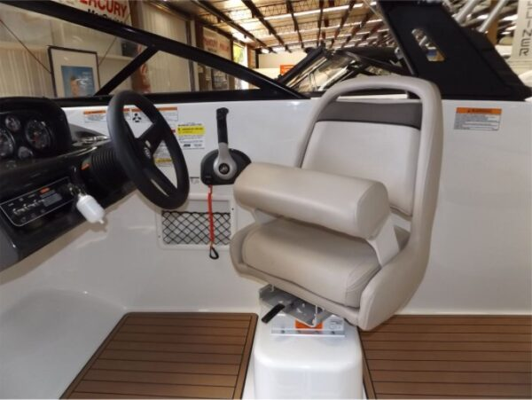 driver's seat on a yacht