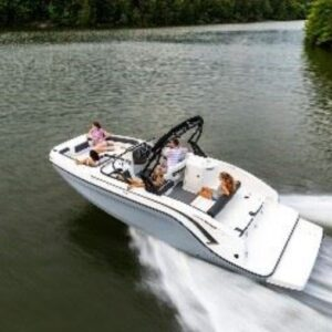 people on a motor boat