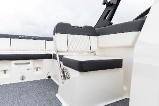 one seat with cushion on boat