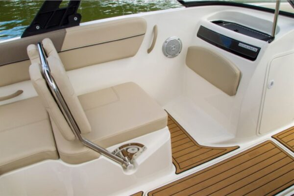 one brown seat on a boat