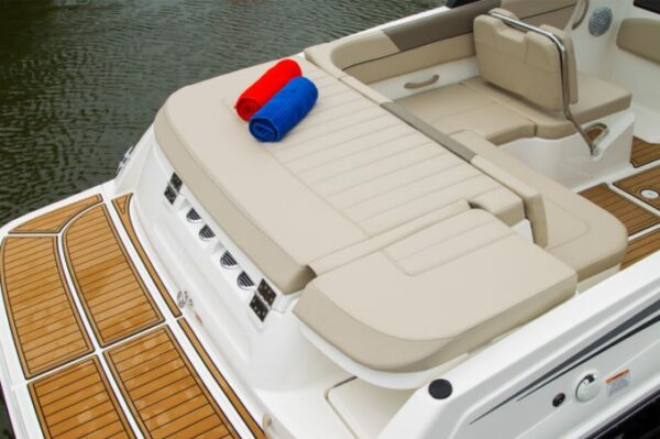 small deck bed on a boat