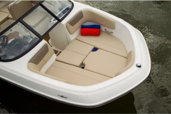 small filler cushion at back of the boat