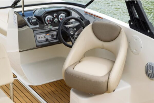 driver's seat on a boat