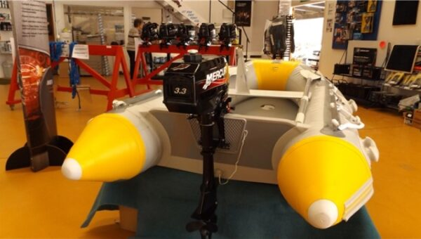 backview of yacht inflatable boat