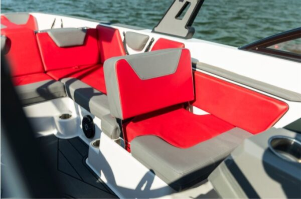 one red seat on a yacht