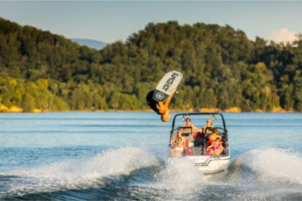 wakeboarding and a speedboat