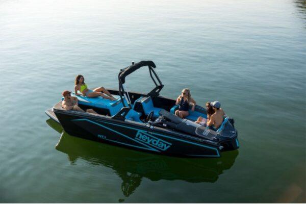 people on a blue speedboat