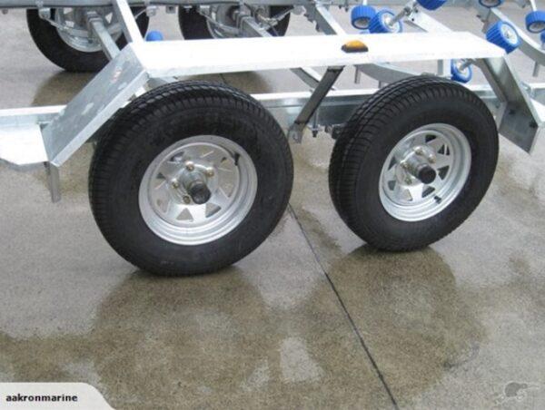 four wheels of boat trailer