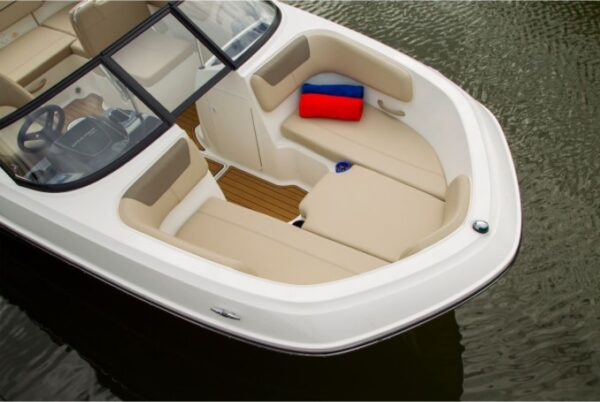 three seat with cushion on a boat