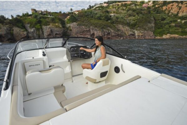 woman sitting on a boat