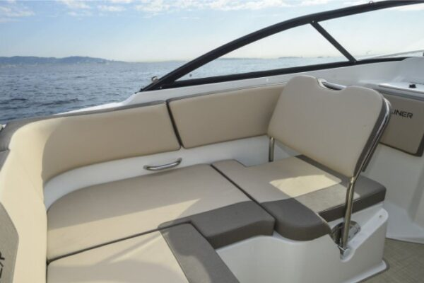 one long seat cushion on a boat