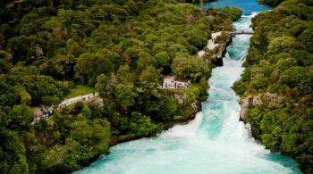 beautiful blue color of waterfalls